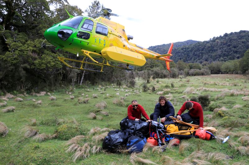 Pyke Hollyford Expedition Touch Down by Helicopter